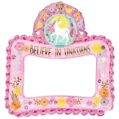 Balon Folie Rama fotografii selfie Unicorn - 66 x 68 cm, Amscan 110477