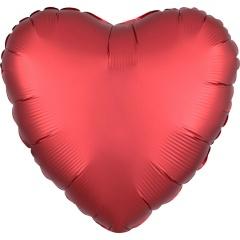 Balon folie inima 45 cm Satin Luxe Sangria, Amscan 38980