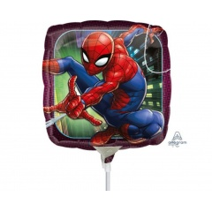 "Balon mini folie Spiderman, 23cm/9"", umflat + bat si rozeta, Amscan 34668"