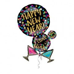 Balon folie figurina Martine Bubble, Happy New Year - 60x86 cm, Amscan 33999
