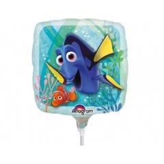 "Balon mini folie Finding Dory, 23 cm/9"", umflat + bat si rozeta, Amscan 32311"