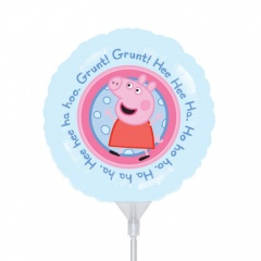 "Balon mini folie Peppa Pig, 23cm/9"", umflat + bat si rozeta, Amscan 23113"
