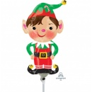 Balon Folie Mini Figurina Elf, 23 cm, umflat + bat si rozeta, Amscan 38316