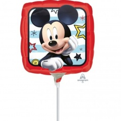 Balon mini folie Mickey Mouse - 23 cm, umflat + bat si rozeta, Amscan 36228