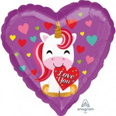 Balon folie inima 45 cm, Love You Unicorn, Amscan 36451