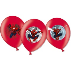 Baloane latex 28 cm inscriptionate Spiderman, policromie, Amscan 999241, Set 6 buc