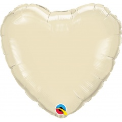 Balon mini folie ivory in forma de inima - 10 cm, umflat + bat si rozeta, Qualatex 27165, 1 buc