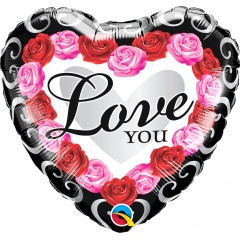 Balon folie inima 45 cm, Love You Roses, Qualatex 54858