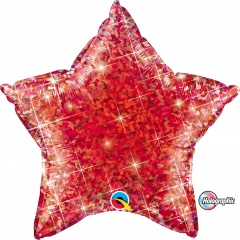 Balon folie metalizat stea rosie holografic - 50 cm, Qualatex 41273