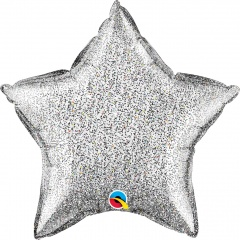 Balon folie glitter stea argintie - 50 cm, Qualatex 88783