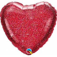 Balon folie glitter inima rosie - 50 cm, Qualatex 88954