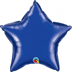Balon folie dark blue metalizat stea - 50 cm, Qualatex 86472