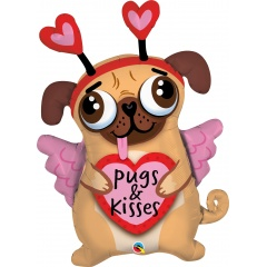 Balon Folie Figurina Pugs & Kisses - 91 cm, Qualatex 78533