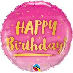 Balon Folie 45 cm Happy Birthday Gold & Pink, Qualatex 78672