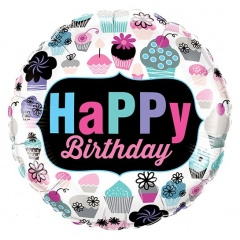 Balon Folie 45 cm Happy Birthday Briose, Qualatex 78669