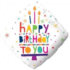 Balon Folie 45 cm Happy Birthday To You, Qualatex 78666