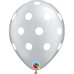 "Baloane latex 11""/28 cm inscriptionate Big Polka Dots Silver, Qualatex 52956"