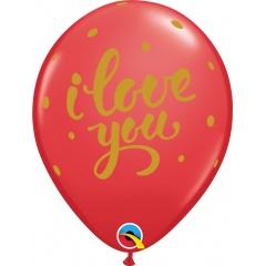 Baloane latex 11''/28 cm inscriptionate I Love You, Qualatex 90956