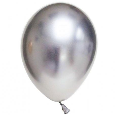 Baloane latex 33 cm Silver- Shiny (Chrome), Gemar 120.89, set 10 buc