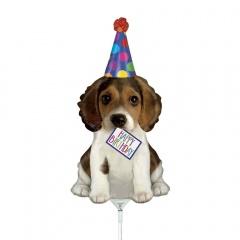 Balon mini figurina Catelus, Happy Birthday - 36 cm, umflat + bat si rozeta, Radar 19561