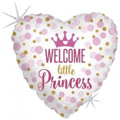 Balon Folie 45 cm inima, Welcome Little Princess, Holografic, Radar 36713GH