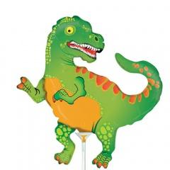 Balon mini figurina Dinozaur - 36 cm, umflat + bat si rozeta, Radar 19344