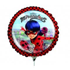 Balon Mini Folie Miraculous, 23 cm, umflat + bat si rozeta, 37793