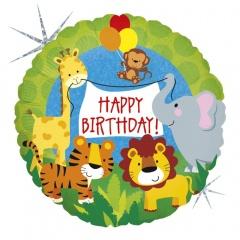 Balon Folie 45 cm Happy Birthday Animalute, Holografic, Radar 36569H