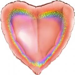 Balon folie glitter inima rose gold - 45 cm, Radar 18083GHRG