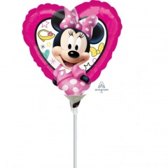 Balon mini figurina Minnie Mouse - 23 cm, umflat + bat si rozeta, Amscan 36234