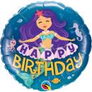 Balon Folie 45 cm Sirena - Happy Birthday, Qualatex 57799