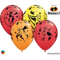 Baloane latex 12'' - The Incredibles 2, Qualatex 84635, Set 6 buc