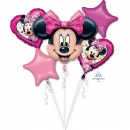 Buchet Baloane Minnie Mouse, Amscan 36232, set 5 bucati