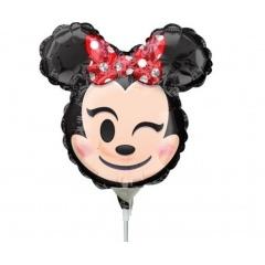Balon mini figurina Minnie Mouse Emoticon - 22 x 22 cm, umflat + bat si rozeta, Amscan 36363