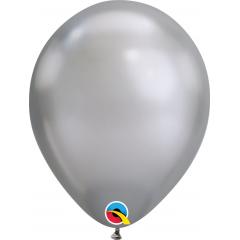 """Baloane latex 7""""/18 cm Silver - Chrome, Qualatex 85109"""