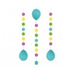 Panglica decorativa - Balloon Tails - buline, pentru baloane cu heliu, 100 cm, Radar 9902241, 3 buc/set