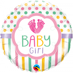Balon folie 45 cm Baby Girl, Qualatex 25746