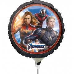 Balon Mini Folie Avengers, 23 cm, umflat + bat si rozeta, Radar 39871