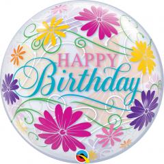 "Balon Bubble 22""/56 cm Happy Birthday Flowers & Filigree, Qualatex 49087"