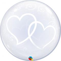 Balon Deco Bubble Entwined Hearts 24''/61 cm, Qualatex 84696, 1 buc