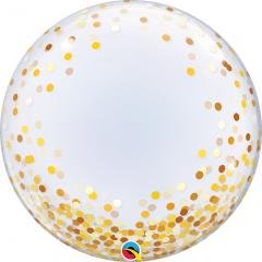 """Balon Deco Bubble - Confetti Aurii - 24""""/61 cm, Qualatex 89727"""