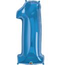 Balon Folie Mare Cifra 1 Sapphire Blue - 38''/96 cm, Qualatex 30515
